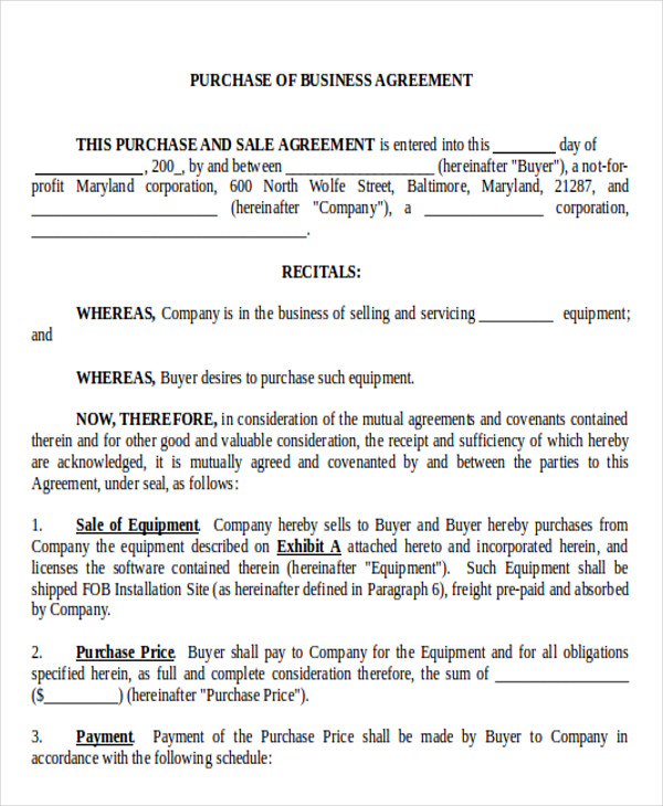 purchase of business agreement example