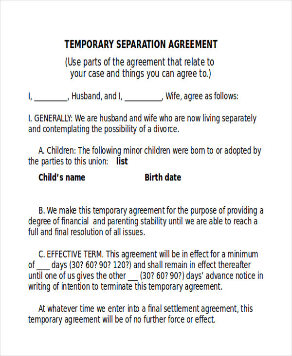 seperation agreement template - 9 sample separation agreements sample templates