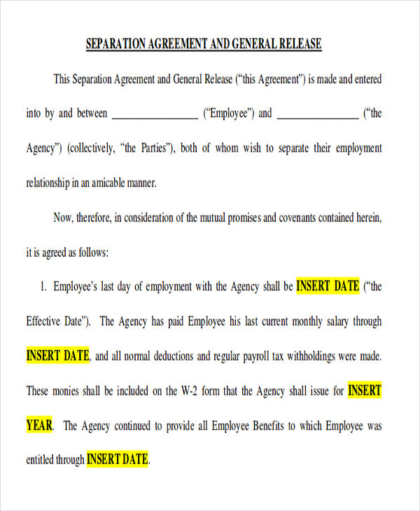 11 Sample Separation Agreement Free Sample Example Format Download