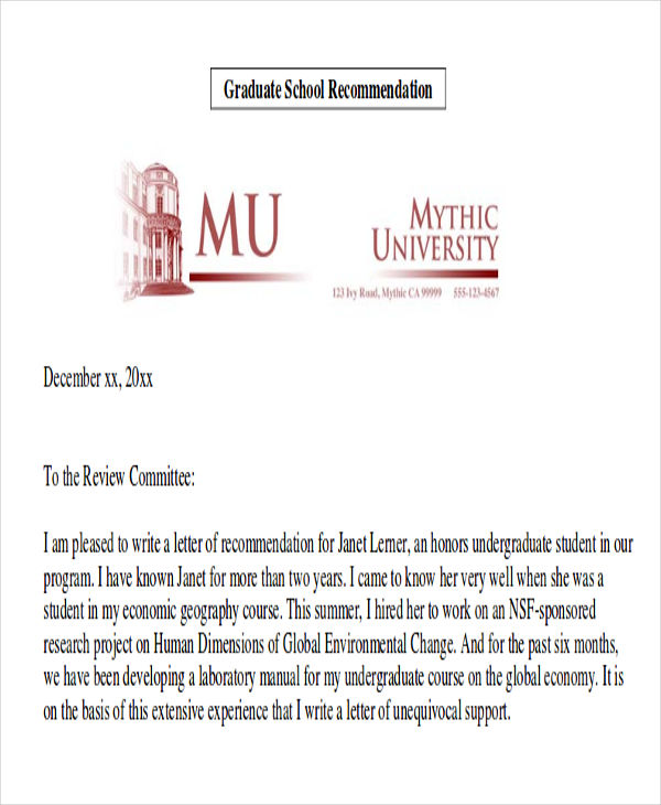 sample employee recommendation letter for graduate school