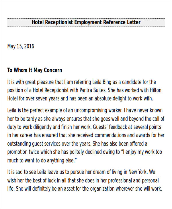 Sample employee recommendation letter 7 examples in for Hotel recommendation
