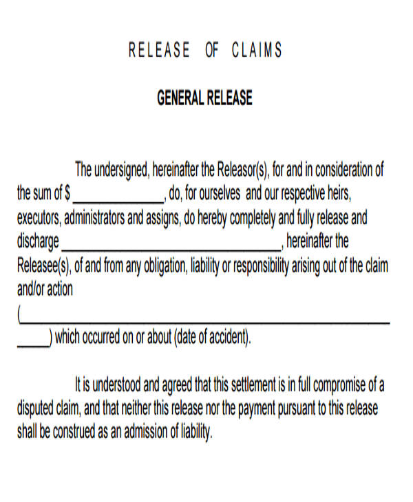 7 sample general liability release forms sample templates for General release of information form template