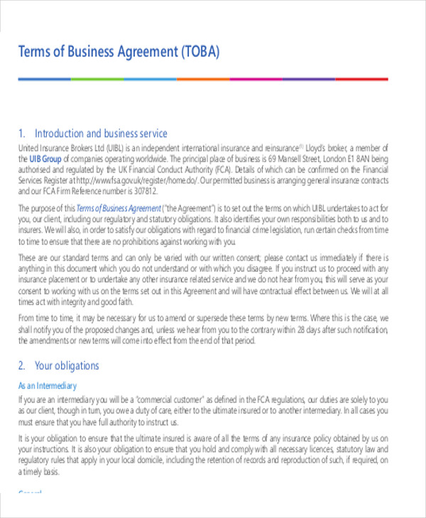 terms of business agreement