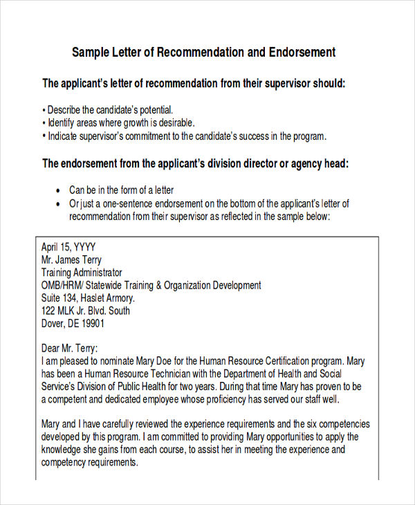 Sample Employee Recommendation Letter   Examples In Word Pdf