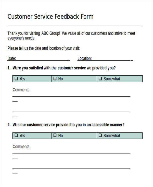 sample feedback form in word examples in word
