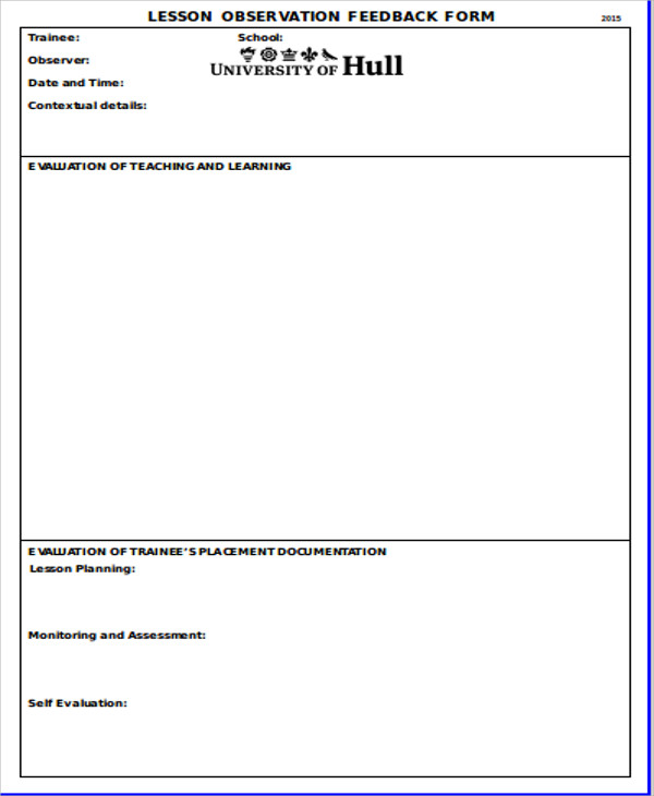 Sample Observation Feedback Form   Examples In Word Pdf