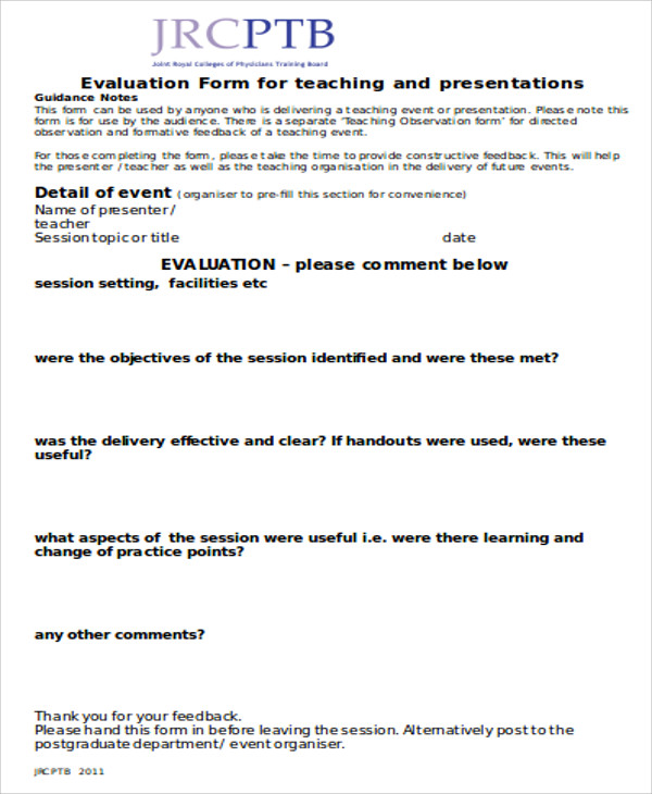 presentation observation feedback form1