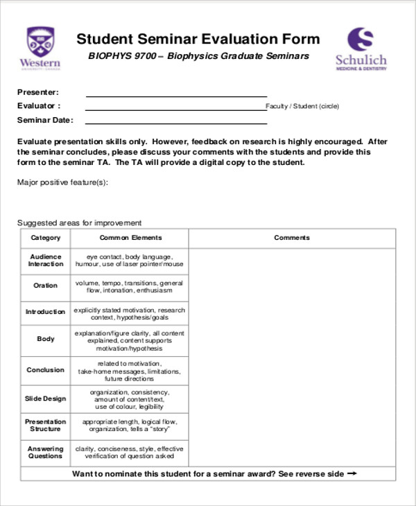student seminar feedback form example