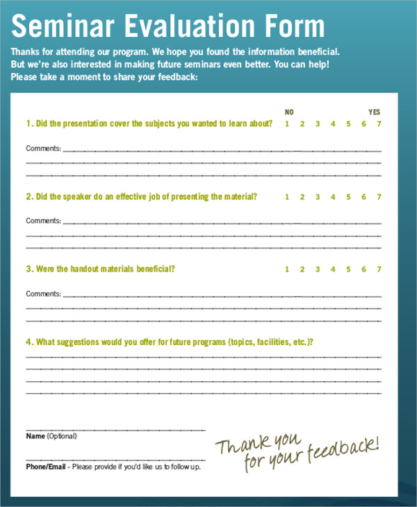 Sample Seminar Feedback Form   Examples In Word Pdf