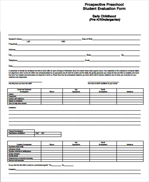 pre school student evaluation form