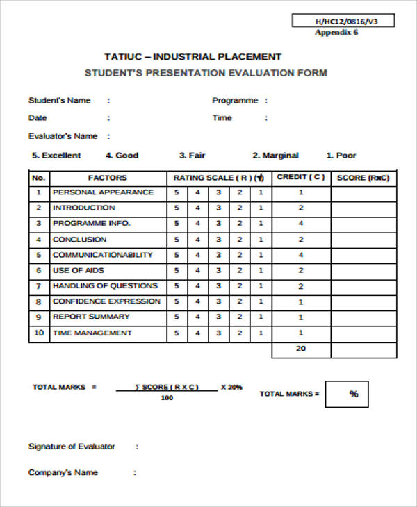 Sample Student Evaluation Form   Examples In Word Pdf