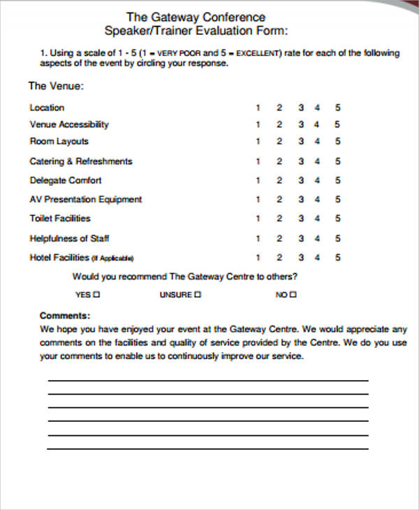Unique Conference Evaluation form In Word Meeting Evaluation form ...