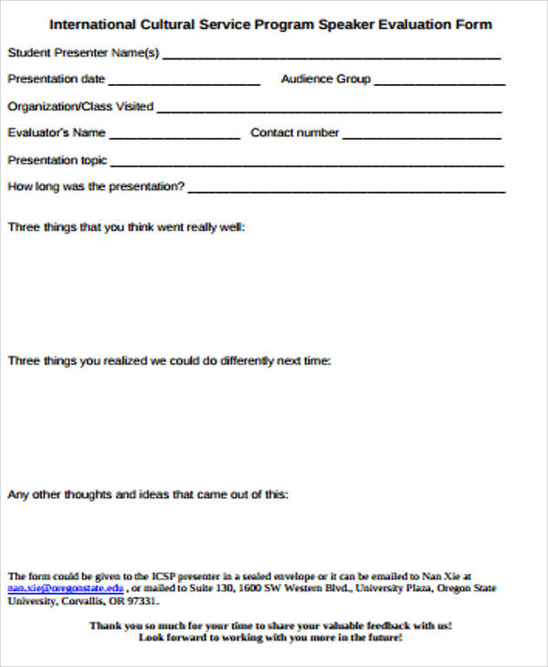 Sample Speaker Evaluation Form 10 Examples in Word PDF – Speaker Feedback Form