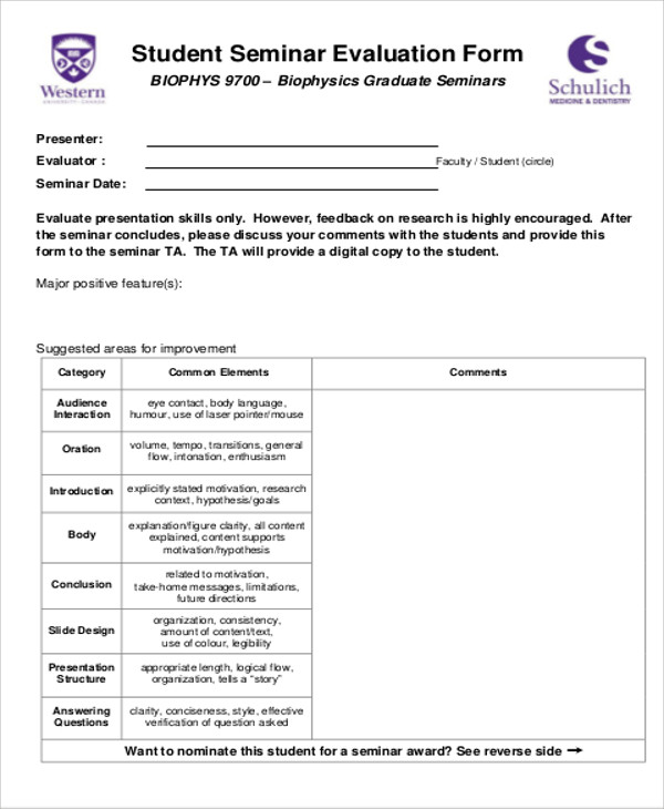Sample Seminar Evaluation Form 10 Examples in Word PDF – Seminar Evaluation Form