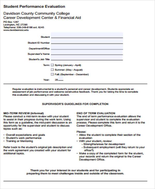 student performance evaluation form