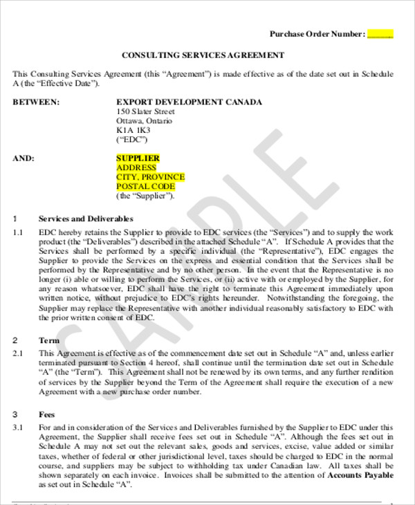 consulting services agreement example
