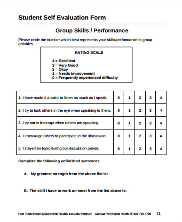 9 simple student evaluation forms sample templates for Student self evaluation templates