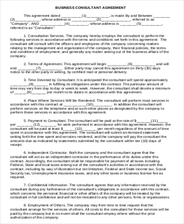 Consulting Agreement Example   Samples In Word Pdf