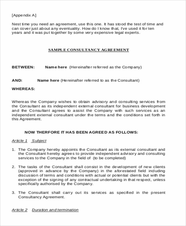 Consulting agreement example 9 samples in word pdf for Consulting fee agreement template