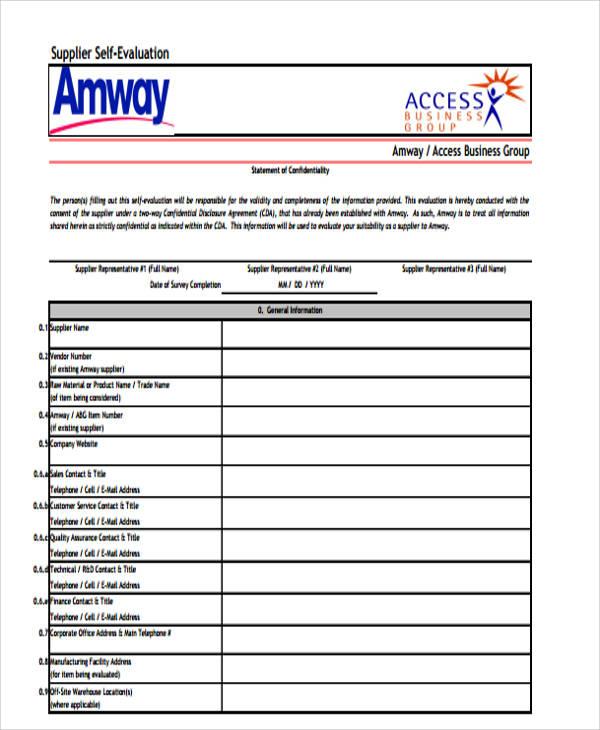 supplier self evaluation form pdf