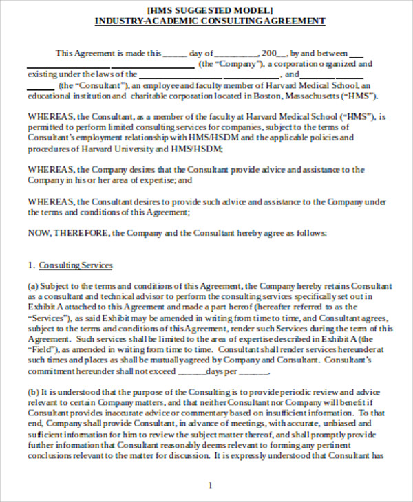 consulting agreement form sample