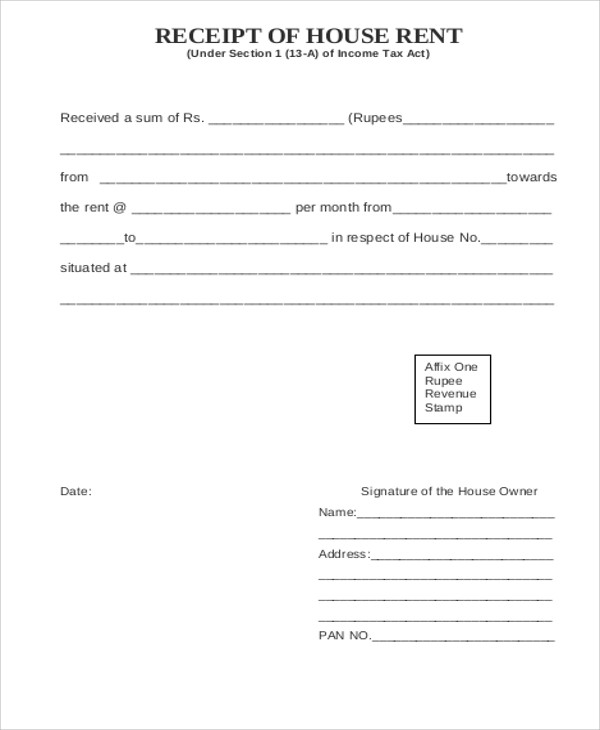 Printable Rent Receipt Sample 6 Examples in Word PDF – Rental Receipt Form