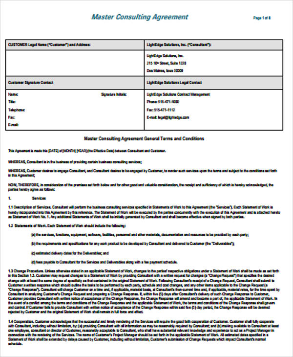 simple consulting agreement samples 6 examples in word pdf