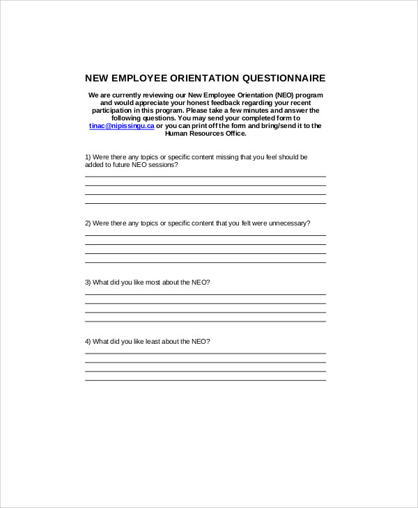 Sample Orientation Feedback Form - 7+ Examples in Word, PDF