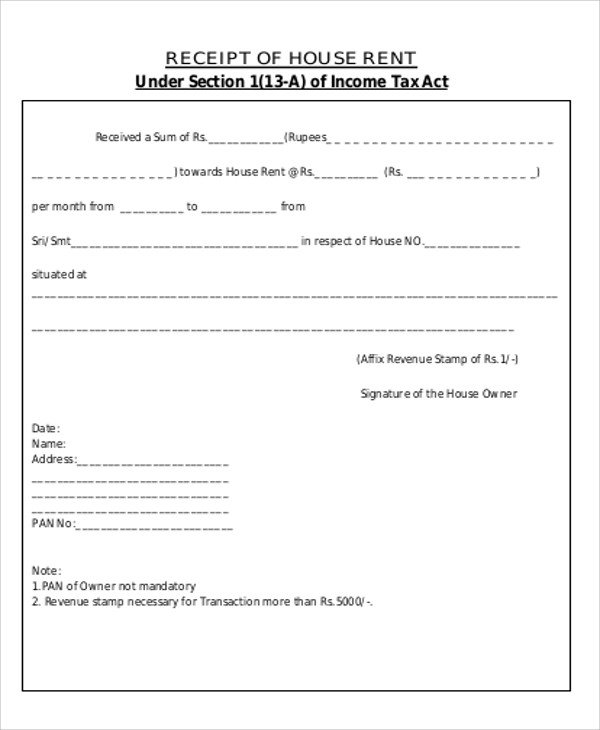 printable rent receipt for income tax purpose