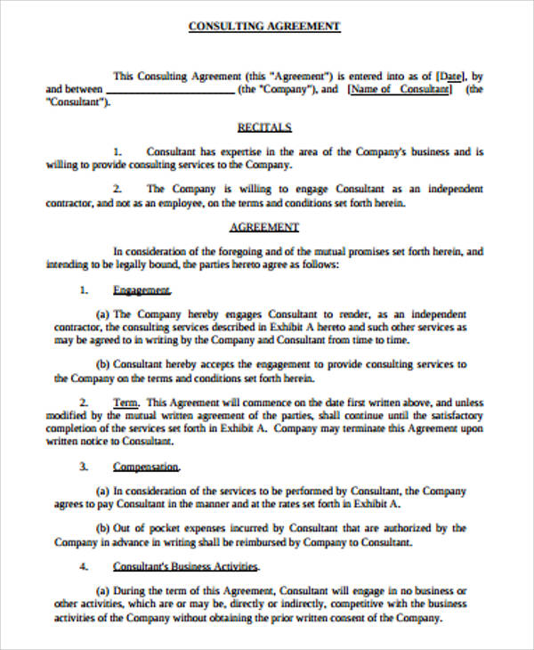 6 simple consulting agreement samples sample templates for Consulting contracts templates