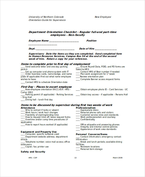 Employee Orientation Template Sample New Employee Orientation