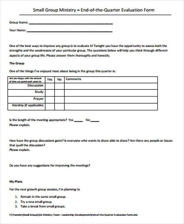 small group ministry evaluation form example