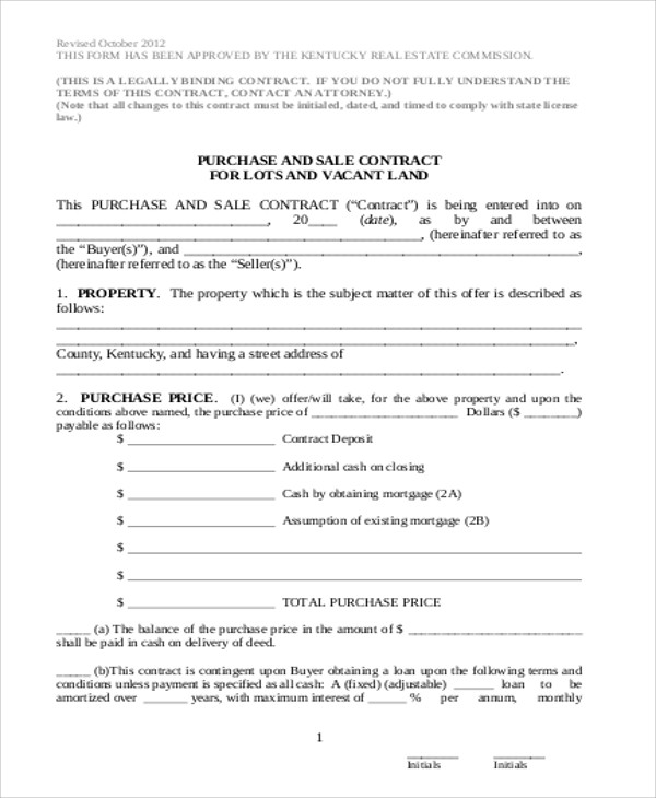 6 sample land sales contracts sample templates for Contract for sale of land template