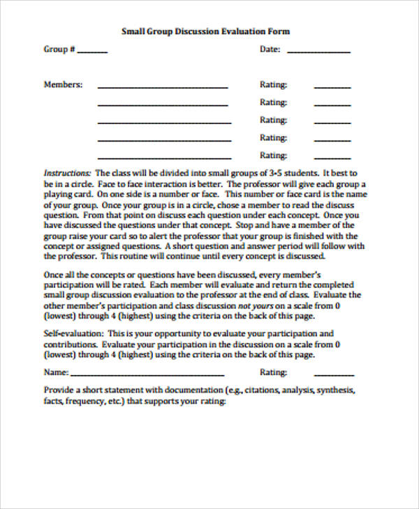 small group discussion evaluation form