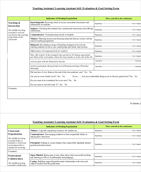 Sample Teacher SelfEvaluation Form   Examples In Word Pdf