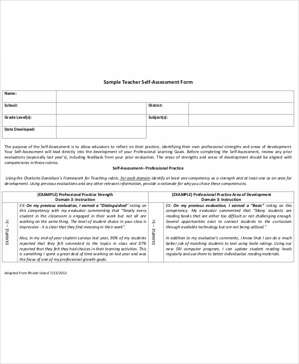 School Teacher Self Evaluation Form
