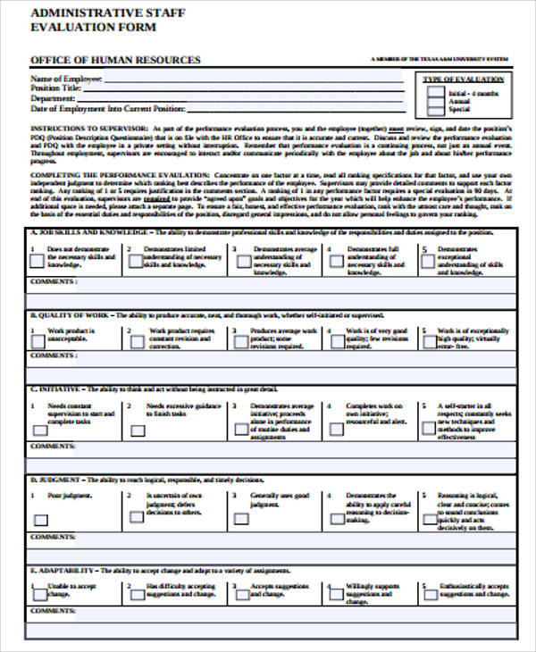 Staff Evaluation. Staff Evaluation Form Template Employee Absolute ...