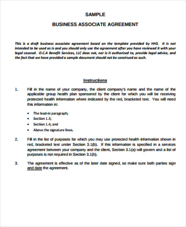 Sample Business Associate Agreements 9 Examples in Word PDF – Business Associate Agreement Template