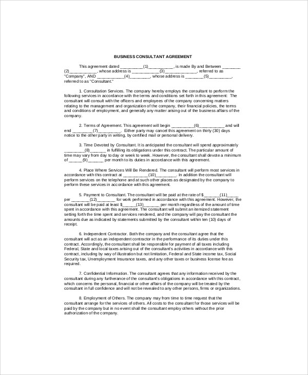 Sample Consulting Agreement Forms 7 Examples In Word Pdf