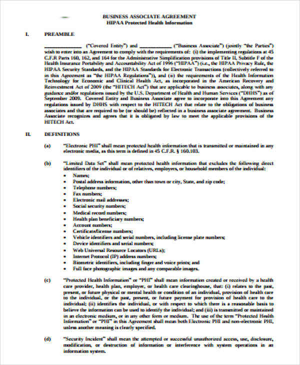 Sample Business Associate Agreements Examples In Word Pdf