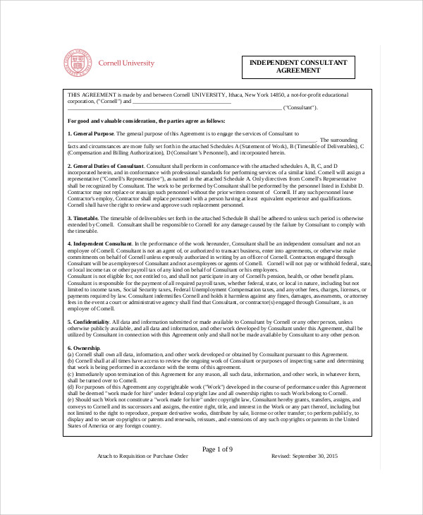 Sample Consulting Agreement Forms - 7+ Examples In Word, Pdf