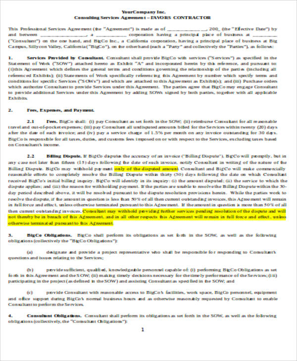Consulting Agreement Samples In Word - 7+ Examples In Word