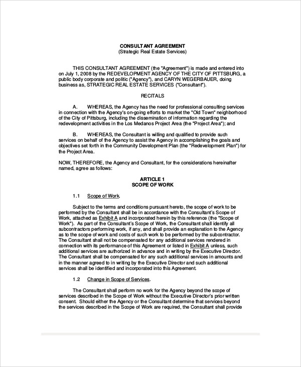 Sample Consulting Agreement Forms   Examples In Word Pdf