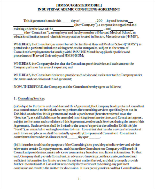 Consulting Agreement Samples In Word   Examples In Word