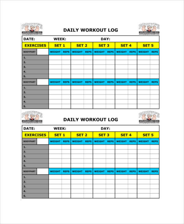 daily workout log sheet1