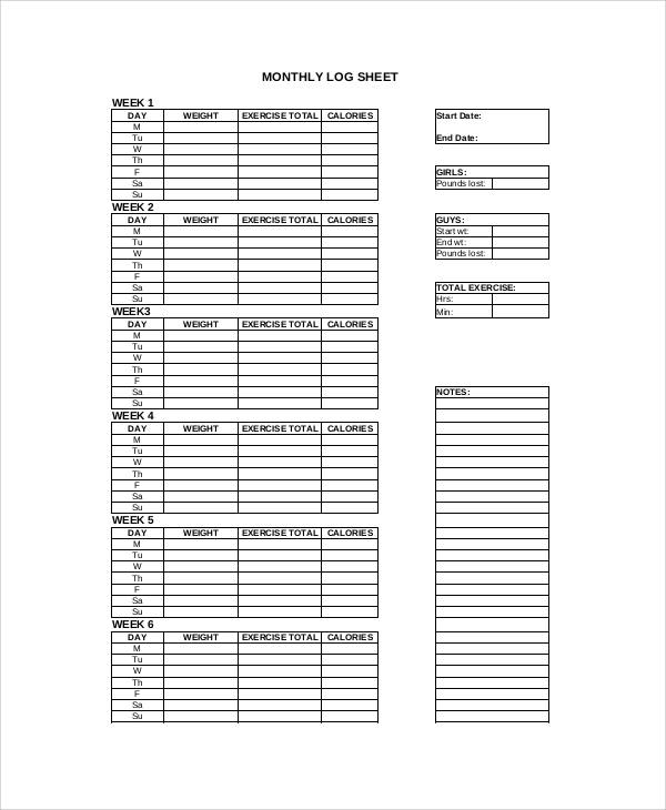 Work Out Log Sheet  EnderRealtyparkCo