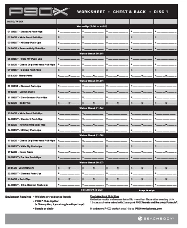 sample workout training sheet