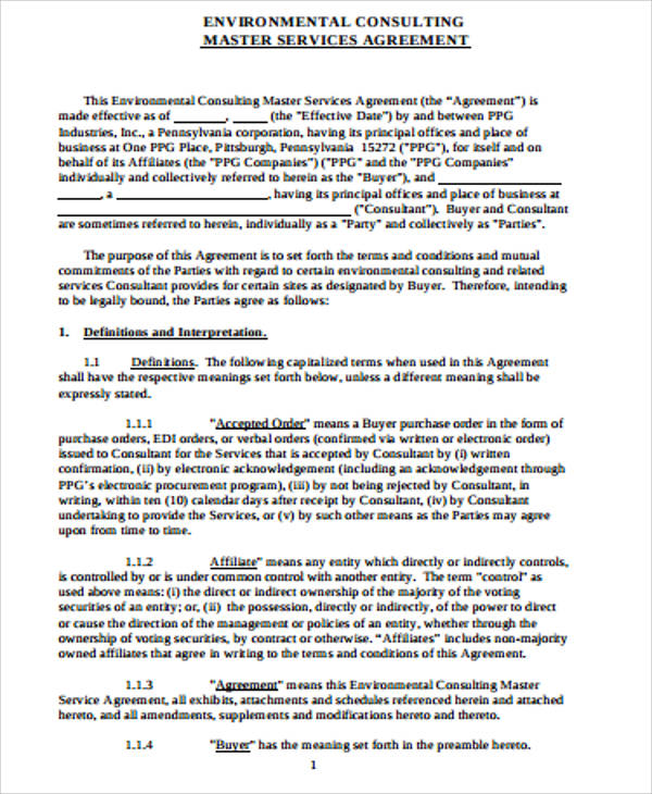 Sample Master Consulting Agreements   Examples In Word