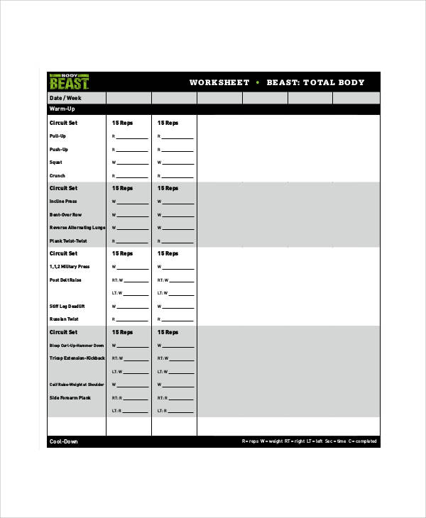 Beast Workout Sheet Sample   Examples In Word Pdf