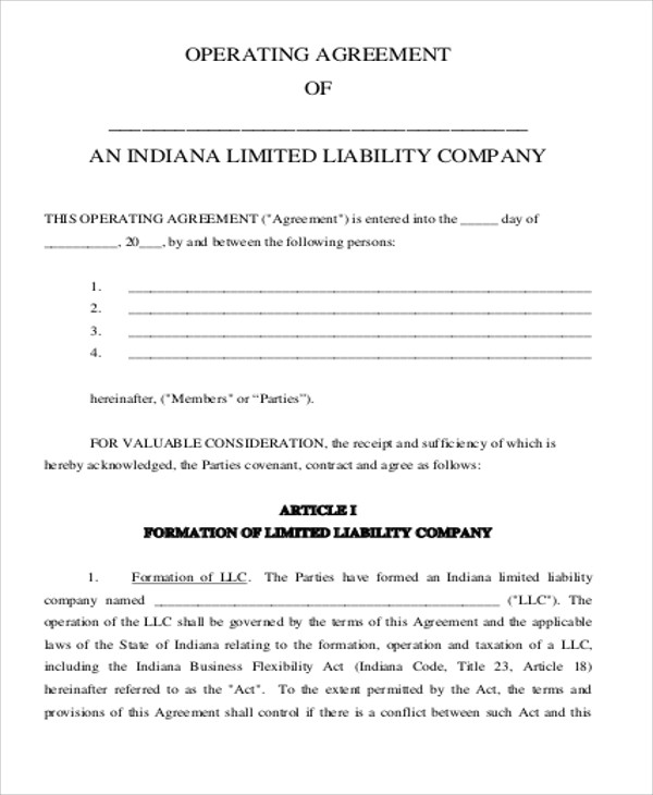 Sample Business Operating Agreement